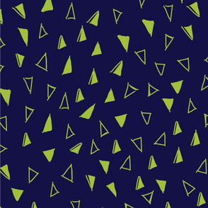 Tumbling Triangles - lime on navy