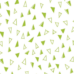 Tumbling Triangles - lime on white