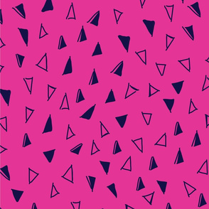 Tumbling Triangles - navy on hot pink