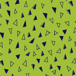 Tumbling Triangles - navy on lime green