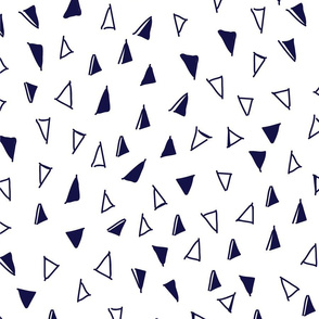 Tumbling Triangles - navy on white