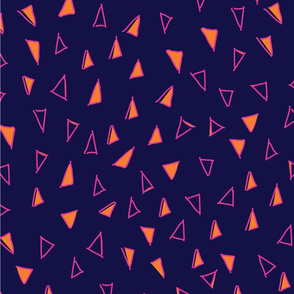Tumbling Triangles - hot pink & orange on navy