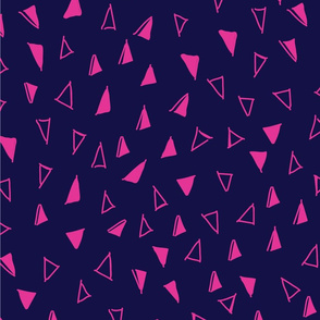 Tumbling Triangles - hot pink on navy