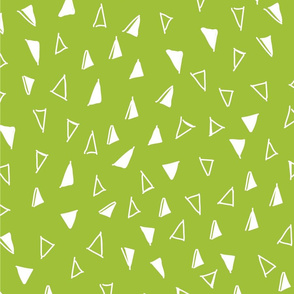 Tumbling Triangles - white on lime