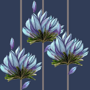 Blue Floating Lotus Stripe