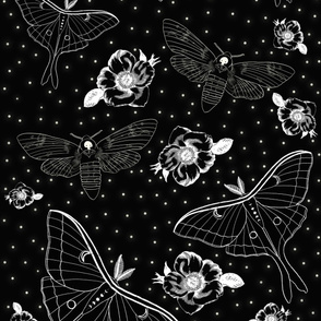 Moth Floral Gothic Wallpaper