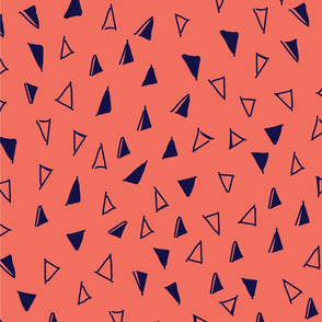 Tumbling Triangles - navy on coral