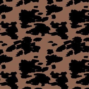 Minimal love animal skin cow spots camouflage army fur winter brown black SMALL