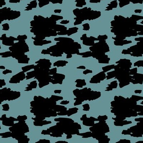 Minimal love animal skin cow spots camouflage army fur winter ice blue black SMALL