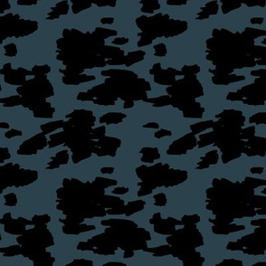 Minimal love animal skin cow spots camouflage army fur winter night blue black SMALL