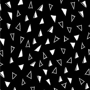 Tumbling Triangles - white on black
