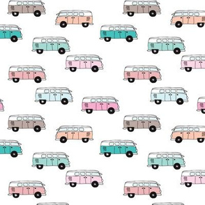 Cute vintage summer hippie van in blue coral mint and pink illustration pattern for kids girls version SMALL