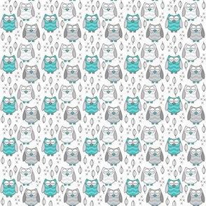 tiny owls-sleeping---teal-and-grey