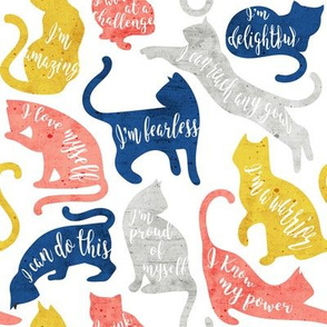 Be like a cat // small scale // white background blue coral yellow and gray cat silhouettes with affirmations