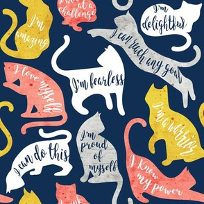 Be like a cat // small scale // midnight blue background white coral yellow and gray cat silhouettes with affirmations