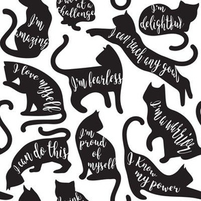 Be like a cat // small scale // white background black cat silhouettes with affirmations