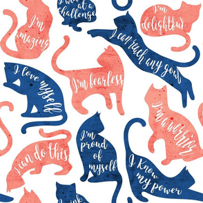 Be like a cat // normal scale // white background coral and blue cat silhouettes with affirmations
