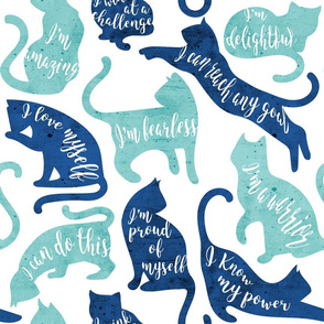 Be like a cat // normal scale // white background aqua and blue cat silhouettes with affirmations