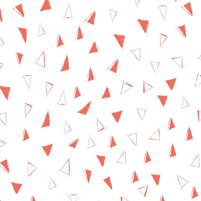 Tumbling Triangles - coral on white