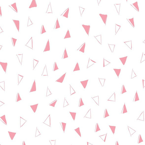 Tumbling Triangles - rose pink on white