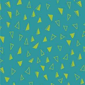Tumbling Triangles - lime on turquoise