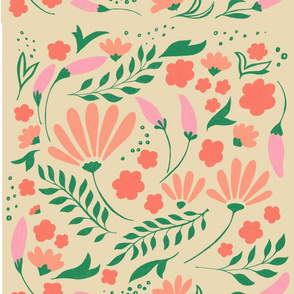 Cute and fresh spring flower pattern