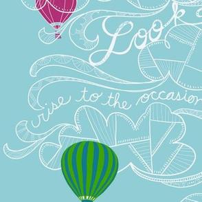 Look up! hot air balloon line art