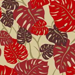 Hawaiian Monstera Leaves- Red and Khaki