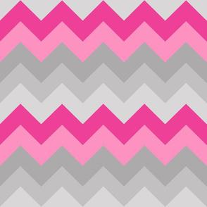 Hot Pink Gray Grey Chevron Ombre Fade