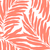 Giant Illustrated Palm Leaves - Living Coral