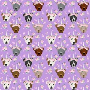 SMALL - pitbull unicorn crown fabric - dog unicorn fabric, floral crown fabric, flower crown fabric - purple
