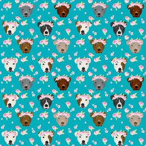 SMALL - -pitbull flower crown fabric - dog flower fabric, dogs floral fabric, pitbulls fabric, pitbull fabric - teal