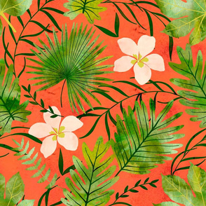 Hawaiian Tropical Floral Watercolor - Living Coral