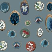 Wood Slices {Large} Blue