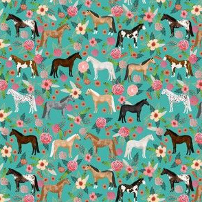 horse multi coat floral (SMALL) horses fabric turq