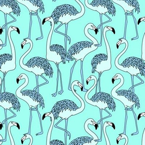 Aqua Blue Flamingo
