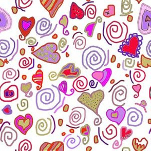 Hearts and Spiral Doodles