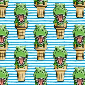 dino trex ice cream cones - blue stripes  - LAD19