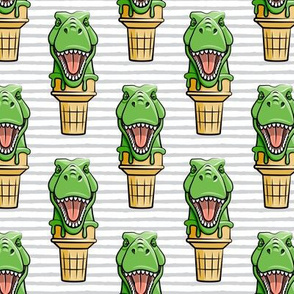 dino trex ice cream cones - grey stripes  - LAD19