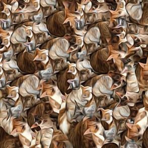 Painterly Cat Pile Sideways