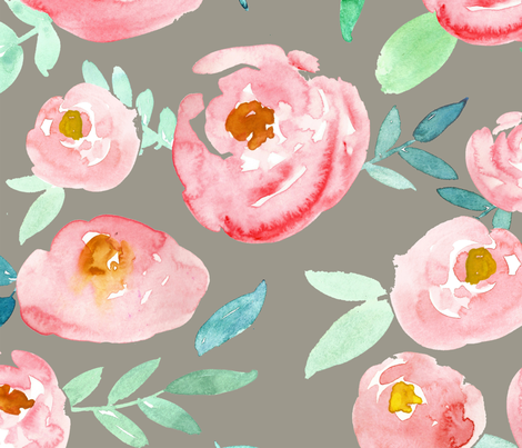soft pink watercolor floral on gray - LARGE fabric by smallhoursshop on Spoonflower - custom fabric