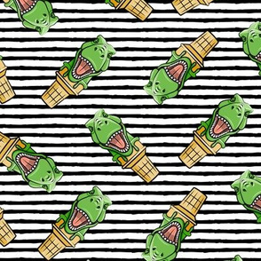 dino trex ice cream cones - toss on black stripes - LAD19