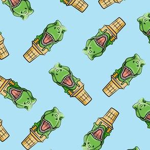 dino trex ice cream cones - toss on blue  - LAD19