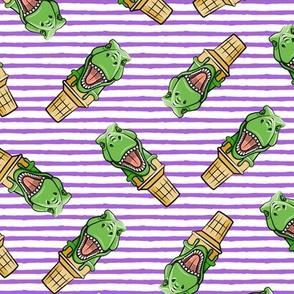 dino trex ice cream cones - toss on purple stripes - LAD19