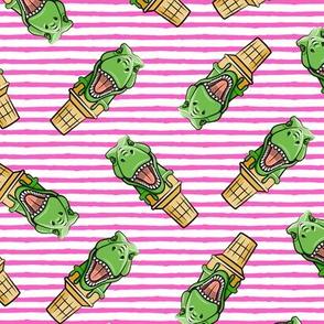 dino trex ice cream cones - toss on pink stripes - LAD19
