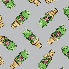 dino trex ice cream cones - toss on grey - LAD19