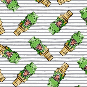 dino trex ice cream cones - toss on grey stripes - LAD19