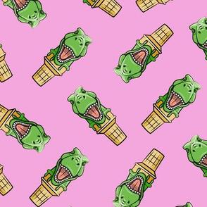 dino trex ice cream cones - toss on pink - LAD19