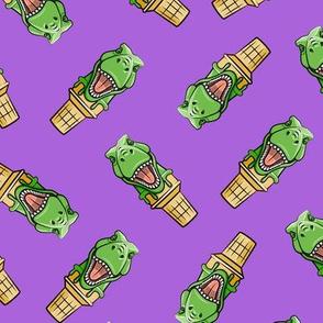 dino trex ice cream cones - toss on purple - LAD19