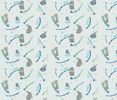 Folk Bunny Spots {large} mint fabric by alicia_rogerson on Spoonflower - custom fabric